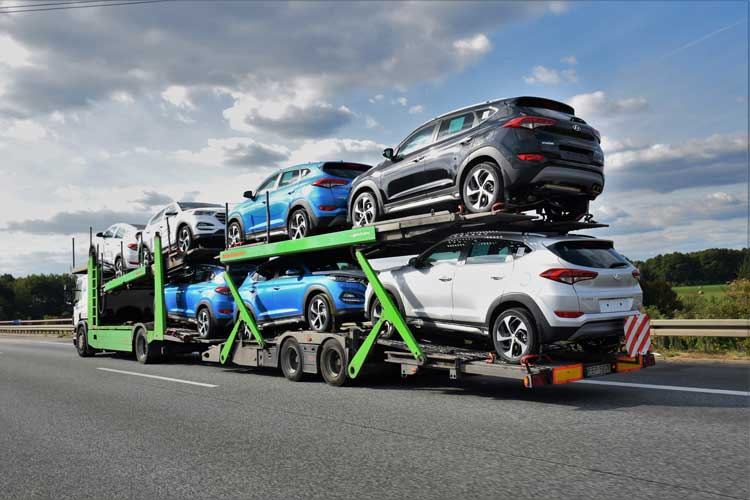 Truck carrying cars
