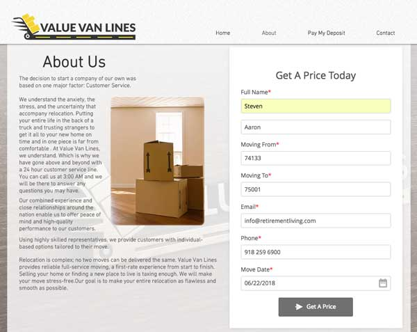 Value Van Lines quote